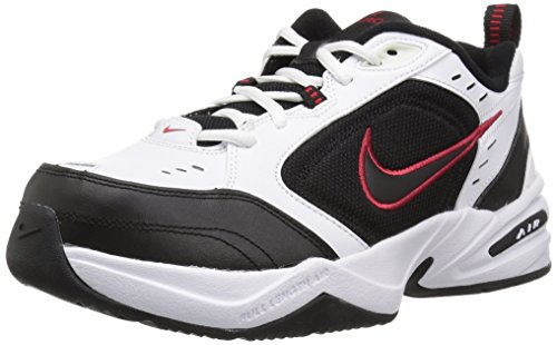 NIKE Men's Air Monarch IV Athletic Shoe, white/black, 10.5 Regular US