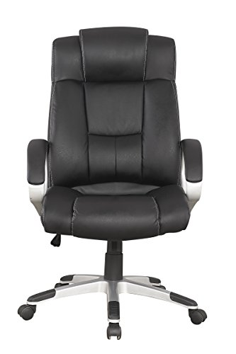 Manhattan Comfort Presidential Washington Collection Bonded Leather Height Adjustable Swivel Ergonomic Office Chair, Black - Collection Leather Bonded