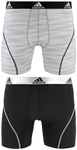 adidas Men's Sport Performance Boxer Brief Underwear (2-Pack), White Ratio Black, X-LARGE