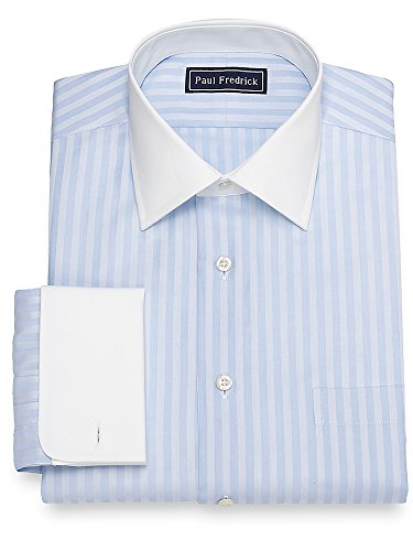Paul Fredrick Men's Slim Fit Twill Stripe Dress Shirt Blue (Paul Fredrick Twill Stripe Dress Shirt)