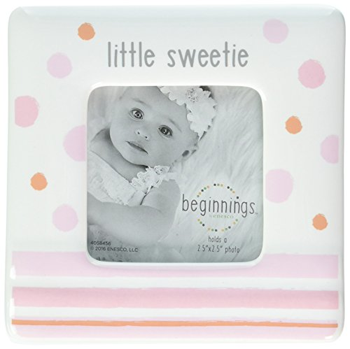 Beginnings by Enesco Little Sweetie Baby Girl Photo Frame, 4 inches, Pink and White -
