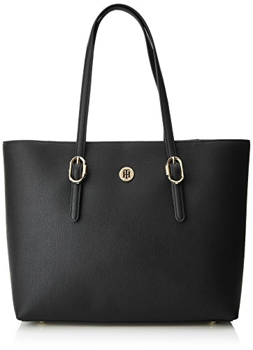 Mujer Shoppers de Buckle Tommy Hilfiger Black Th Tote Y Hombro Bolsos Negro q0zxIwER