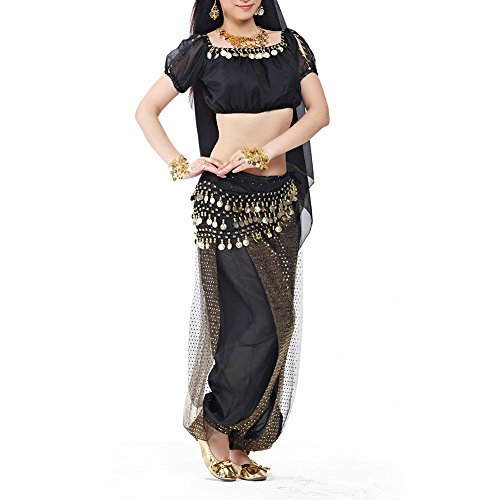 Coin Tribal Belly Dance (BellyLady Belly Dance Tribal Short Sleeves Chiffon Top with Gold Coins)