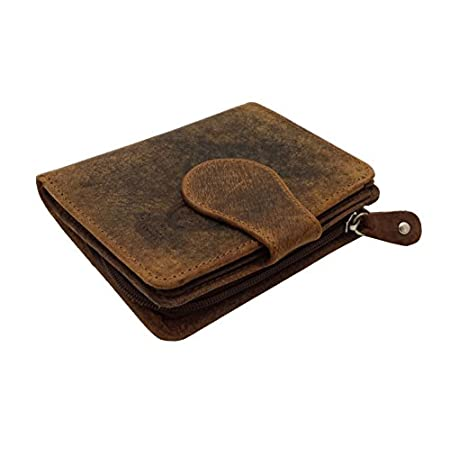 RFID Blocking Ladies Designer J Wilson London Quality Distressed Oiled Hunter Leather Card Coin Holder Purse Wallet 41Wyn31BdqL