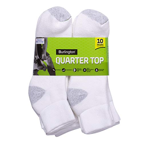 Burlington Men's Cotton Quarter Socks Comfort Power (10-Pack), White, Size 10-13/Shoe Size 6-12