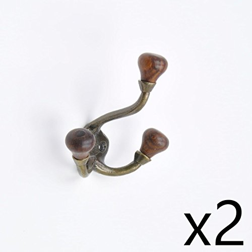 Metal 7 Piece Set Brass - (2 Piece Set of) Simple Antique Brass Metal And Wood Cap Coat Hook Hooks Wall Mounted Door Hook Hanger for Hat Coat Clothes Kitchen Bathroom Bedroom Office (With Screws)
