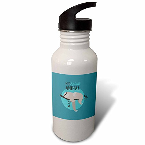 3dRose wb_267039_2 My Spirit Animal Sloth Sleeping on Tree Cute Typography Straw Water Bottle by 3dRose