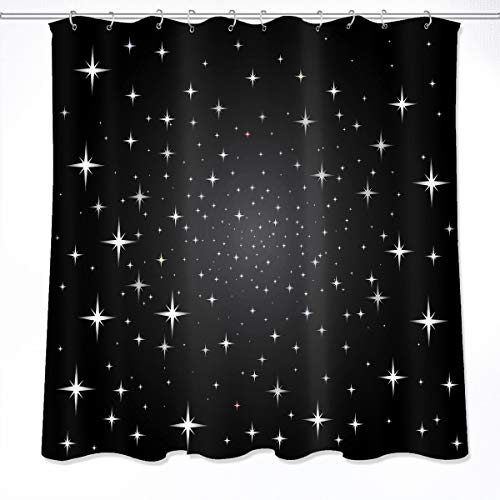 Zimmerbackpackchha curtain Modern Star Shower Curtains,Simple Design Moon Night Starry Sky Scenery Shower Curtains for Bathroom Waterproof Fabric 72x72 Inch with Hooks