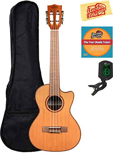 Kala KA-ATP-CTG-CE Solid Cedar Top Tenor Cutaway Acoustic-Electric Ukulele Bundle with Gig Bag, Tuner, Austin Bazaar Instructional DVD, and Polishing Cloth