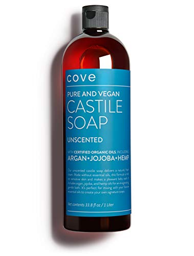Cove Castile Soap - Unscented 33.8 oz / 1 Liter - Organic Argan, Hemp, Jojoba Oils