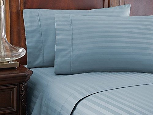 Lavish Linens 1800 Series Microfiber- Sleeper Sofa Sheet Set Stripe, Light Blue, Queen Size (62