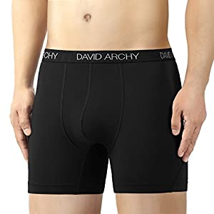 David Archy 3 Pack Men's Ultra Fast Dry Performance Boxer Briefs (M, Black/Dark Gray/Gray-Solid)