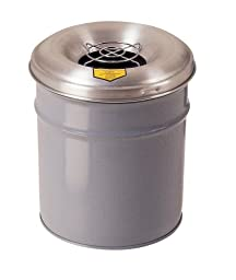Justrite 26626G Cease-Fire Ash and Butt Receptacle with Aluminum Head and Grill Guard, 6 Gallon Capacity, 12-1/8\