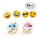 Yunko Emoji Cupcake Toppers and Wrappers Kids Party Cake Decorations, Set of 24