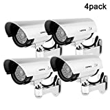 QLPP Dummy Camera,Outdoor Fake/Dummy Security Camera with Blinking Light,CCTV Surveillance Security Camera,Bullet Simulated Surveillance Camera,A,4pack