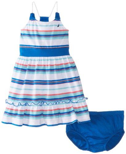Nautica Baby-Girls Infant Multi Stripe Flounce Hem Dress, Medium Blue, 24 Months