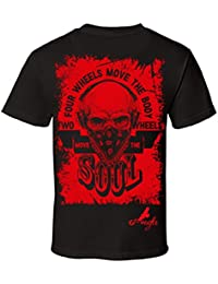 Men's Two Wheels Move the Soul Skull Motorcycle Graphic T-Shirt