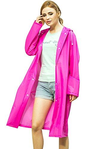 LaoZan Resistente Con Impermeable Capucha Lluvia Chubasquero Mujer Agua Poncho Rose Chubasquero Al 7wr71