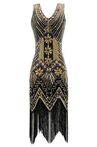 Metme Women's Flapper Dress 1920s V Neck Beaded Fringed Gatsby Theme Raoring 20s Dress for Prom Black ()