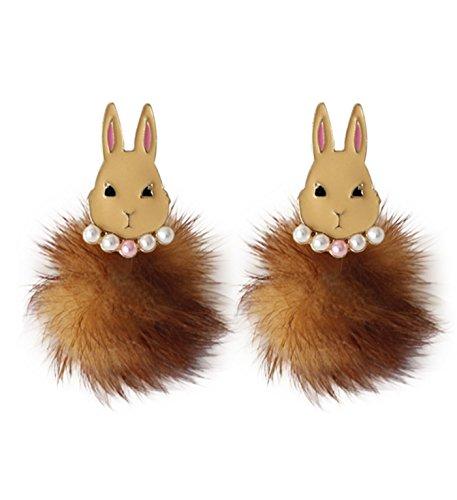 Micrkrowen Mink Fur Ball Cute Rabbit Earrings Ear Nail