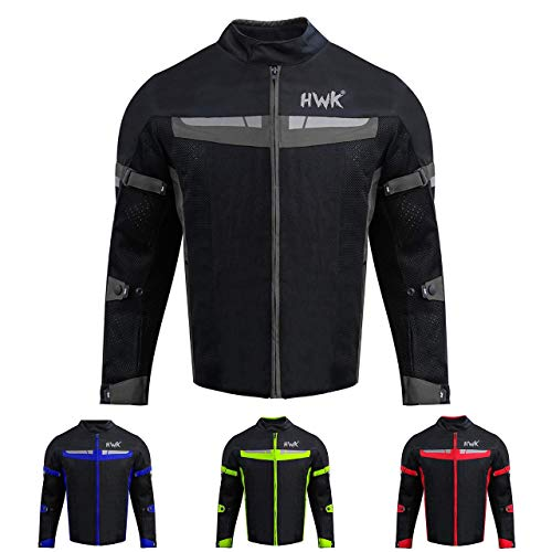 HWK Mesh Motorcycle Jacket Riding Air Motorbike Jacket Biker CE Armored Breathable (Large, Black)