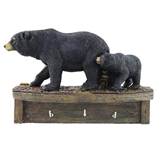 Delightful Black Bear Family Cub Keyholder Rack Hook Sculpture, Wall Mounted, 8 Inch