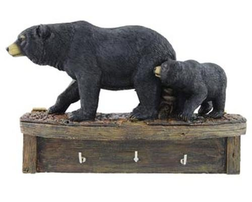 Cabin Wall Hanging - Black Bear Family Cub Keyholder Rack Hook Sculpture, Wall Mounted, 8-inch