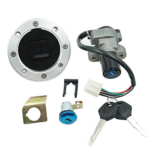 XM-Accesorios de motos Easy to Install Motorcycle Ignition Switch Assembly for Suzuki GSXR1000 GSXR600 GSXR750 Fuel Tank Cover Lock Gas Cap Engine Hook Locking Keys Durable (Color : Black)