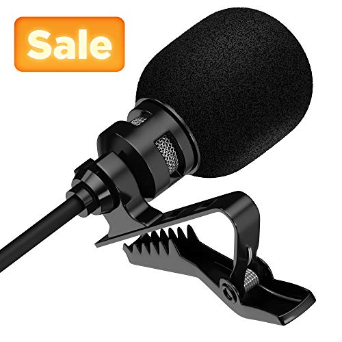 (Lavalier Lapel Microphone for Phone, Camera or Laptop with Interview Cable, Headphone Adapter and Extension Cords for Live Streaming, Outdoor Vlogging, Youtube Recording, Video Conference.)