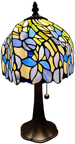 Amora Lighting Tiffany Style Mini Accent Lamp 15 Tall Stained Glass Purple Blue Floral Iris Flower Antique Vintage Light Decor Living Room Bedroom Handmade Gift AM1076TL08B, Multicolor,Medium