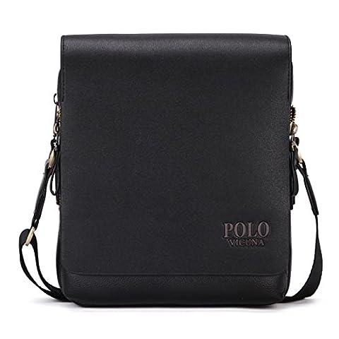 VICUNA POLO PU Leather Men Messenger Bag Cross Body Bag Shoulder Bag For Men (small, black)