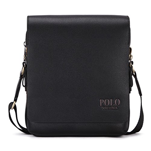 VICUNA POLO PU Leather Men Messenger Bag Cross Body Bag Shoulder Bag For Men (small, black)