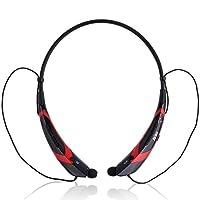 JIAKE Universal Wireless Headphone Bluetooth 4.0 Music Stereo Headset Vibration Neckband Style(Black-Red)