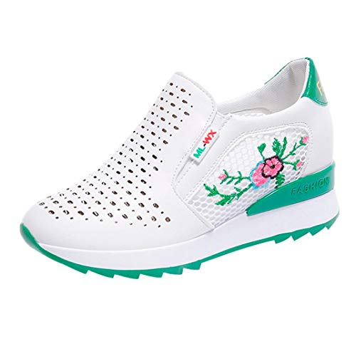 UOKNICE Clearance Mesh Breathable Inner Increase Casual Student Sports Shoes Embroidered Sneaker Running Shoes(Green, CN 39(US 7))