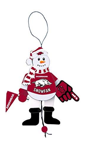 NCAA Arkansas Razorbacks Wooden Cheering Snowman Ornament