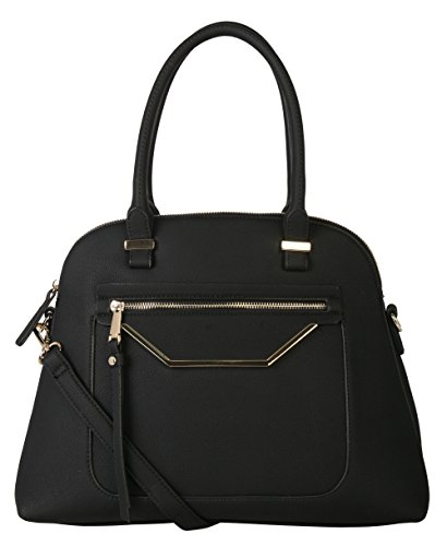 (Rimen & Co. PU Leather Pastel Large Shell Shape Tote Satchel Womens Purse Black)