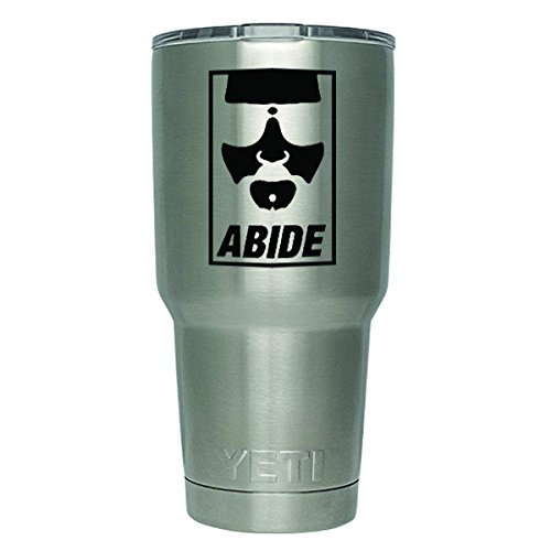 DD450 2-Pack The Dude Abide The Big Lebowski Inspired Decal Sticker (DECAL ONLY CUP NOT INCLUDED) | 3 Inches | Premium Quality Black Vinyl | Yeti RTIC Orca Ozark Trail Tumbler ()
