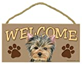 """Yorkie Welcome Sign 5"""" x 10"""" MDF Wood Plaque"""