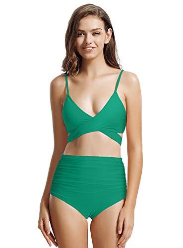 zeraca Women's High Waisted Wrap Bikini Bathing Suits (Small / 6, Teal Blue)