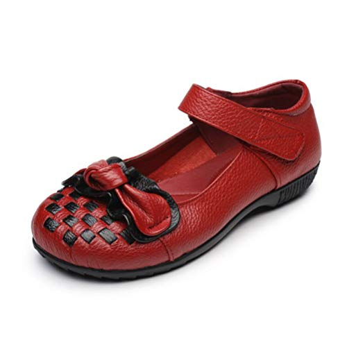 Women's Mary Janes Falt Shoes Bowknot Handmade Weaving Round Toe Loafers Non-Slip Ballet Shoes ()