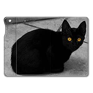 Brain114 iPad Air Case - Full Body Protection Defender Case Cover for iPad Mini Black Cat With Yellow Eyes Stand Leather Case Cover for iPad Mini