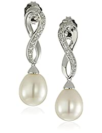 Sterling Silver Freshwater Cultured Pearl and White Topaz Infinity Design Drop Earrings