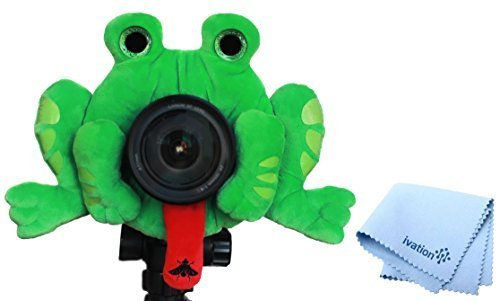 Camera Creatures Plush Stuffed Animal with a Built-in Squeaker - Fascinating Frog w/ Free ivation Lens Cloth by CAMERA CREATURES