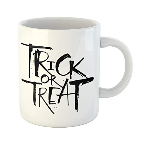 Semtomn Funny Coffee Mug Trick Treat Lettering for Halloween Modern Brush Letters Flyers 11 Oz Ceramic Coffee Mugs Tea Cup Best Gift Or Souvenir