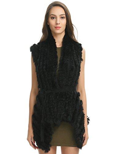Ferand Stylish Striped Knitted Real Rabbit Fur Sleeveless Vest with Detachable Belt, Black, Medium