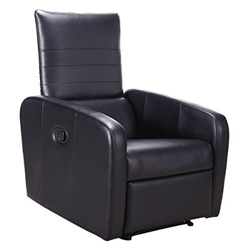 Black Manual Recliner Chair Foldable-Back PU Leather Sofa by FDInspiration