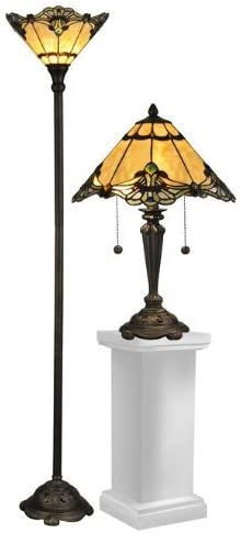 Fine Art Lighting Tiffany Floor Lamp, 17 by 62-Inch, 366 Glass Cuts
