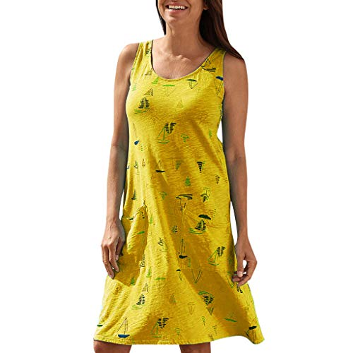 Loosebee Women's Summer Casual Sleeveless Elegant Loose Plain Pleated Solid Color Print Vest Dress Yellow ()