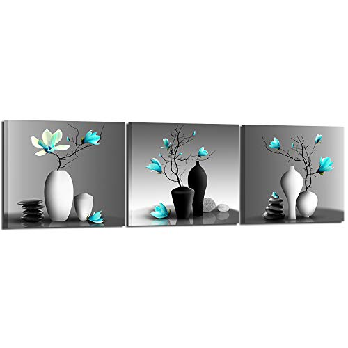 (Nachic Wall - Modern Flower Painting Teal Orchid Wall Art Framed Set of 3 Zen Stones Turquoise Floral Pictures for Home Living Room Bathroom Spa Decoration Ready to Hang)