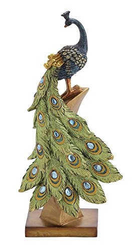 Deco 79 Poly-Stone Peacock, 6 by 13-Inch